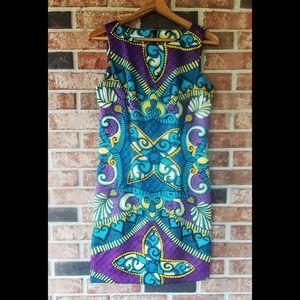 Alyx Blue Purple Pattern Fitted Career Dress 10
